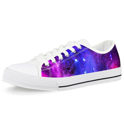 Pink Galaxy - White Low Top Canvas Shoes-Victor Plazma