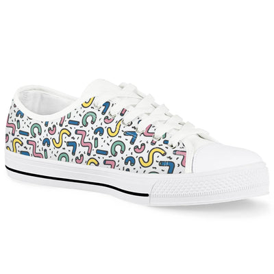 Gettin' Jiggy - White Low Top Canvas Shoes-Victor Plazma