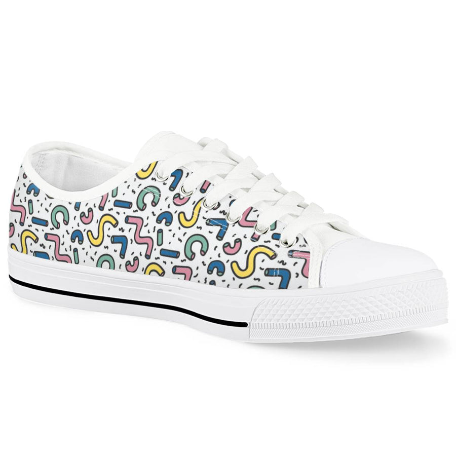 Gettin' Jiggy - White Low Top Canvas Shoes