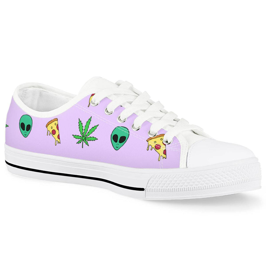 Alien Pizza Weed - White Low Top Canvas Shoes