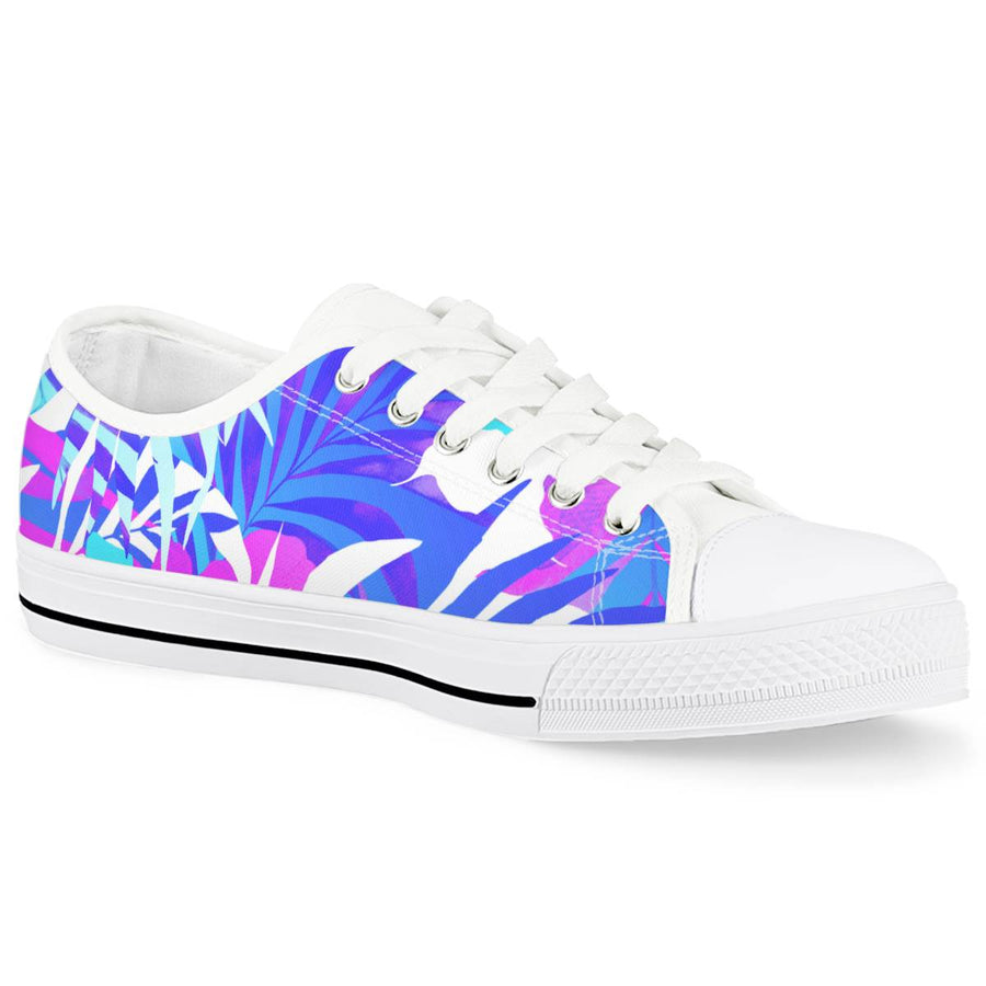 Summer Vibes - White Low Top Canvas Shoes