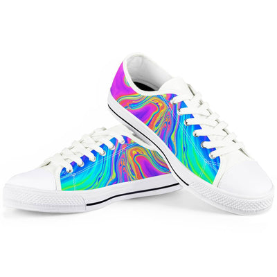 Drip - White Low Top Canvas Shoes-Victor Plazma