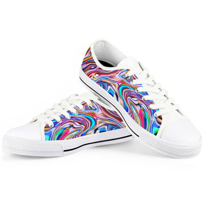 Lucid Dream - White Low Top Canvas Shoes-Victor Plazma