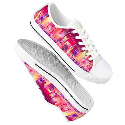 London Eye - White Low Top Canvas Shoes-Victor Plazma