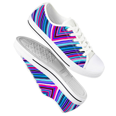 Illusions - White Low Top Canvas Shoes-Victor Plazma