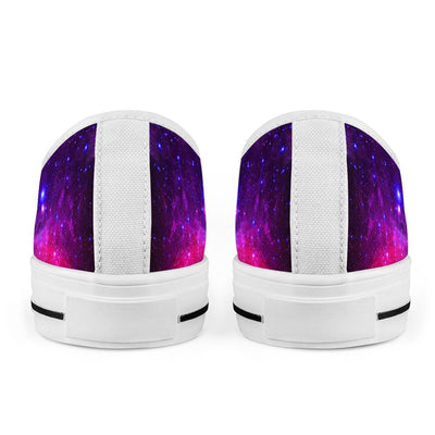 Pink Galaxy - White Low Top Canvas Shoes