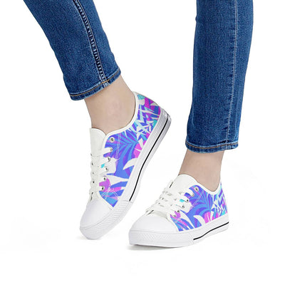 Summer Vibes - White Low Top Canvas Shoes-Victor Plazma