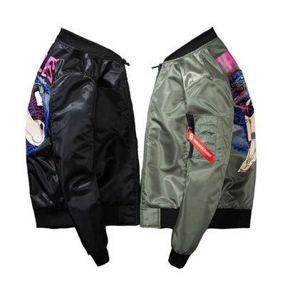 "Retro MA1 ""Fearless Retrowave"" Light Bomber Jacket-Victor Plazma"