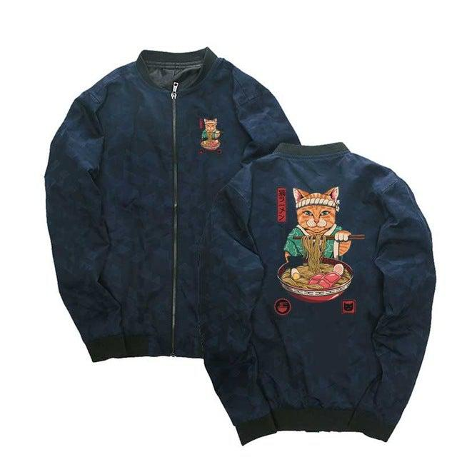 "Retro MA1 ""Guru Ramen Cat"" Light Bomber Jacket"