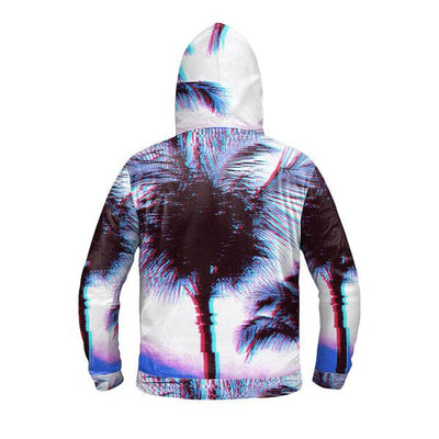 Synth Palms Zip Up Premium Hoodie-Victor Plazma