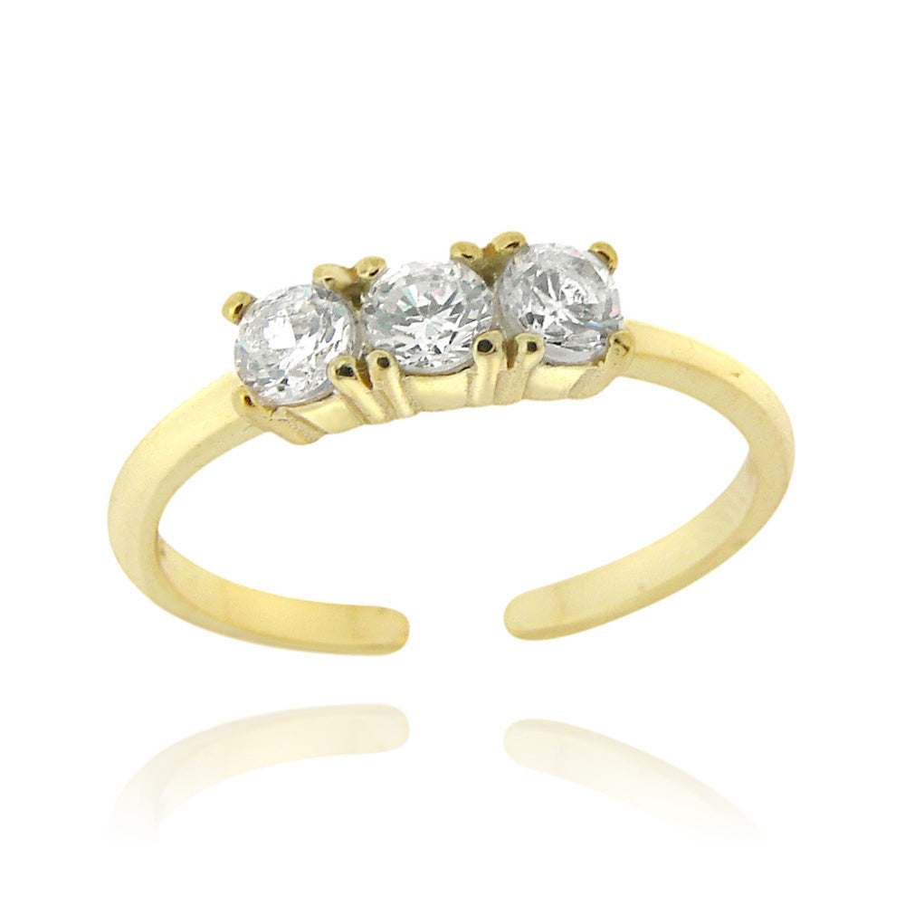 18k Gold over Sterling Silver CZ Three Stone Toe Ring