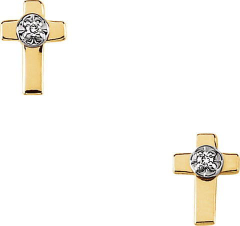 14k Yellow Gold White Diamond Plain Latin Cross Stud Earrings - 0.02 Cttw