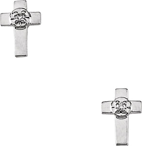 14k White Gold White Diamond Simple Latin Cross Stud Earrings - 0.02 Cttw