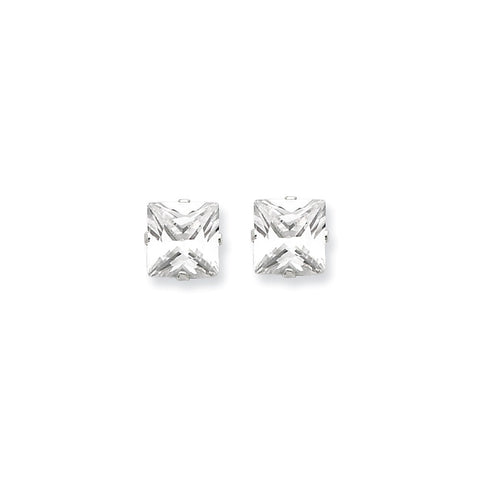 925 Sterling Silver White Synthetic Cubic Zirconia Faceted Princess Stud Earrings