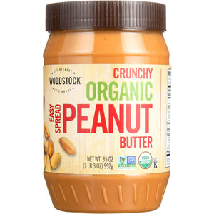 Woodstock Nut Butter - Organic - Peanut - Easy Spread - Crunchy - Salted - 35 oz - case of 12