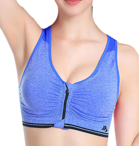 Fashional Sexy Womens Push-up Seamless Back Yoga Sport Bra Blue