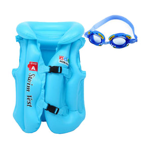 Professional Thicken Child Swim Buoyancy Lifejacket Swimsuit Inflatable Blue