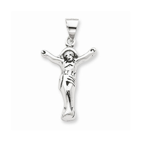 Sterling Silver Antiqued Corpus  Crucified Christ  Pendant