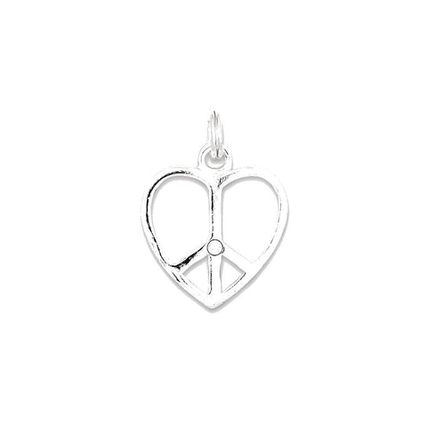 Sterling Silver Stellux Crystal Peace Heart Pendant