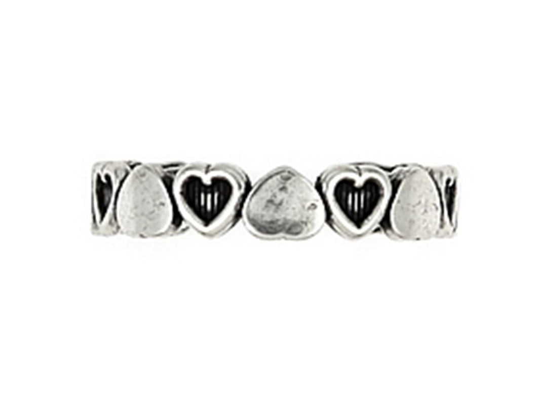 925 Sterling Silver Polished And Cut Out Heart Adjustable Toe Ring: Rings