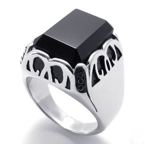 Ring Made of Titanium Steel 316L Jewelry Black Crystal for Women & Men's Fashion: Ring Made of Titanium Steel 316L Jewelry Black Crystal for Women & Men's Fashion-Size 8