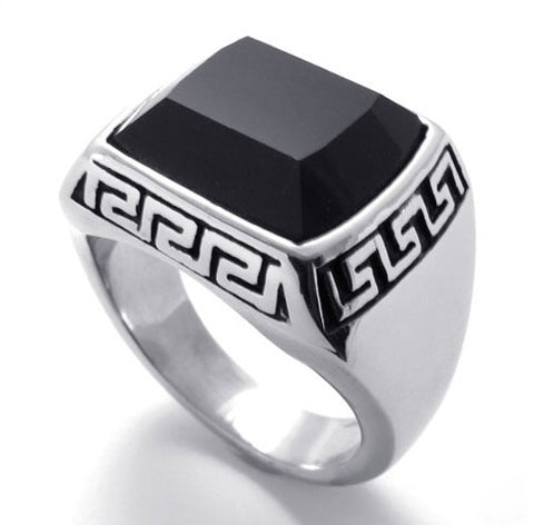 Men's & Women's Titaium Steel Ring Black Crystal Jewelry: Men's & Women's Titaium Steel Ring Black Crystal Jewelry-Size 7