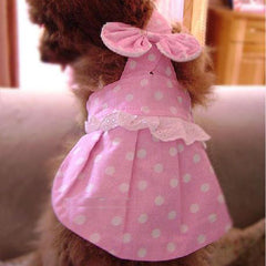 Adorable Dog's Pink Dress w/ White Polka Dot Print for Pet Clothing XX-LARGE: Adorable Dog's Pink Dress w/ White Polka Dot Print for Pet Clothing XX-LARGE-Color Pink