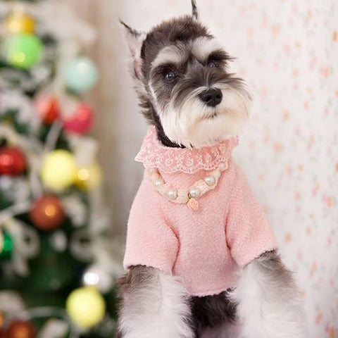 Pink Imitation Pearl Beaded Necklace Jewelry for Dog Fashion & Pet Clothes Apparel: Pink Imitation Pearl Beaded Necklace Jewelry for Dog Fashion & Pet Clothes Apparel-Size XS