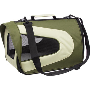Airline Approved Folding Zippered Sporty Mesh Pet Carrier - Green & Khaki: CANV GRN w/ BEIGE - Small