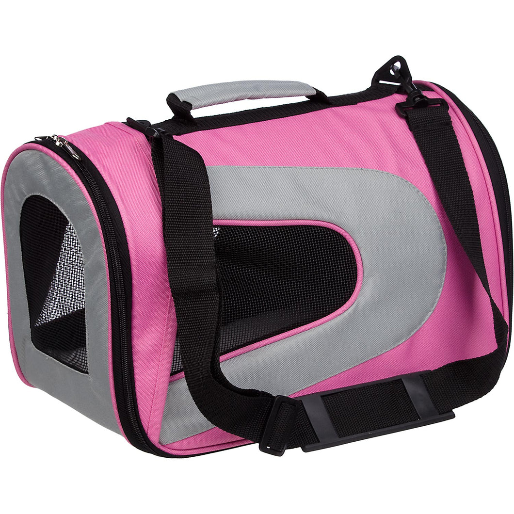 Airline Approved Folding Zippered Sporty Mesh Pet Carrier - Pink & Cream: PINK w/WHITE - Small