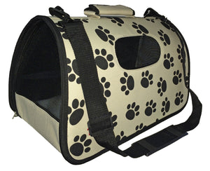 Airline Approved Folding Zippered Sporty Cage Pet Carrier - Paw Print: Medium