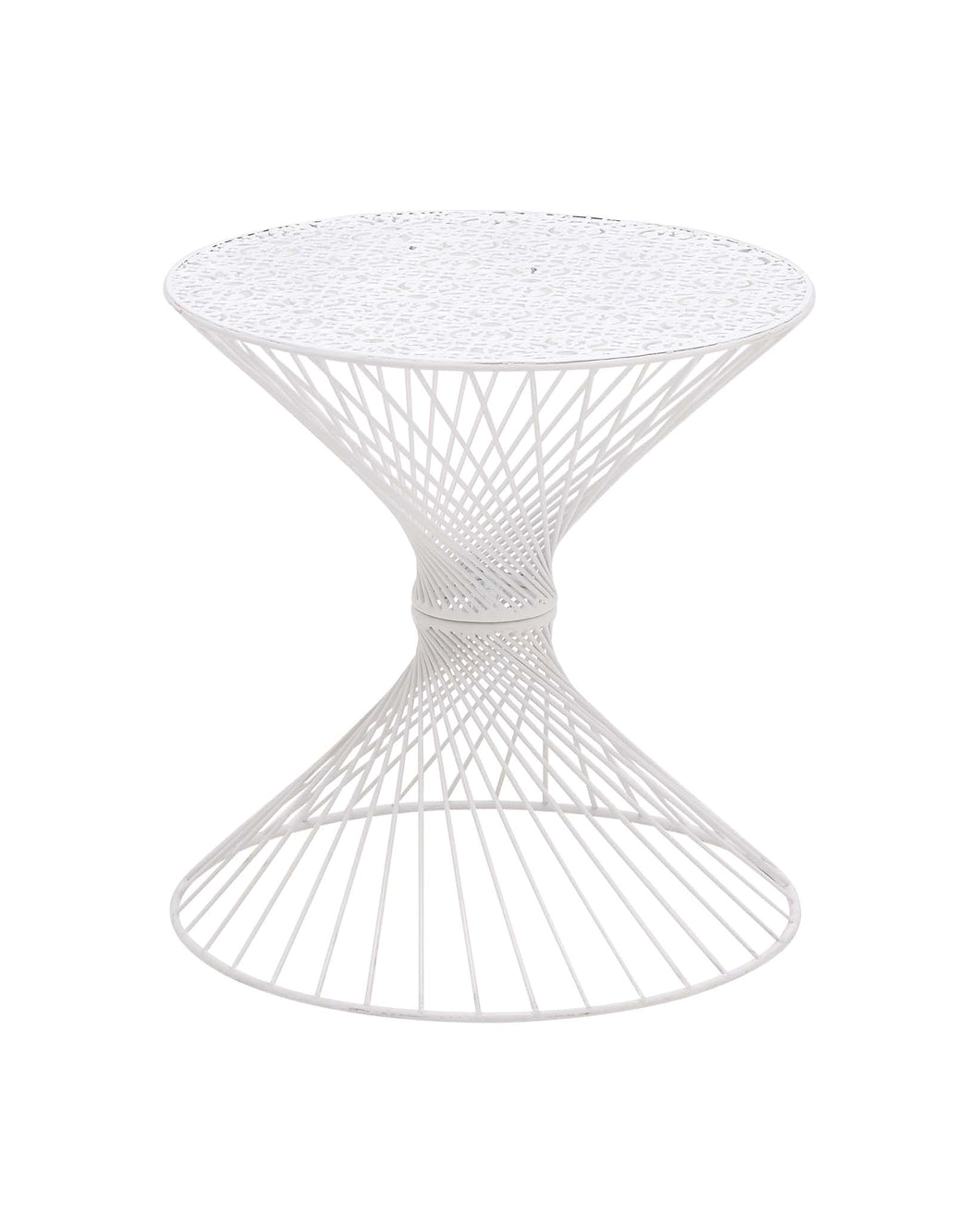 Appealing Styled Metal White Accent Table