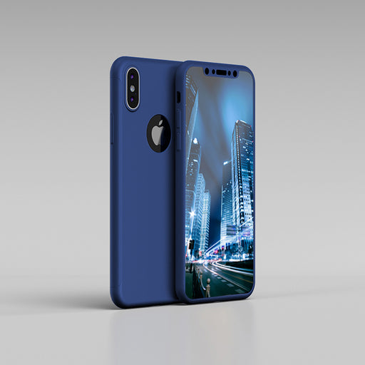 Housse bleue Apple iPhone XS 360