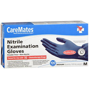 CAREMATES NITRILE EXAMINATION GLOVES (M) 100