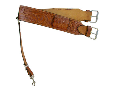 Leather Back Cinch Floral Tooled Rear Cinches Western Horse Girth