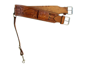 Leather Back Cinch Oak Tooled Rear Cinch Western Horse Girth
