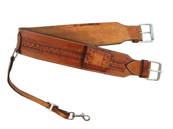 Leather Back Cinch Hand Tooled Rear Cinch Trail Western Horse Girth
