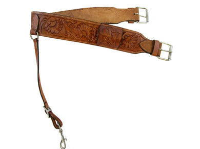 Leather Back Cinch Floral Tooled Rear Cinch Western Horse Saddle Girth