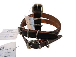 Black Leather Genuine Dog Collar Nickle Buckle
