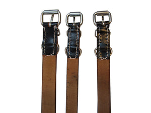 Dog Collar Black Leather Genuine Nickle Buckle