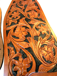 Western Saddle Fender Set Floral Tooled Leather Roping Trail Barrel
