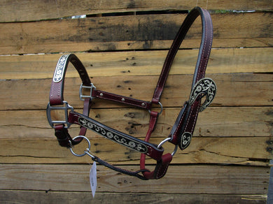 Leather Show Halter Western Horse Brown Leather Black Silver Trail