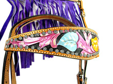 Purple Fringe Show Tooled Trail Western Headstall Breast Collar Set