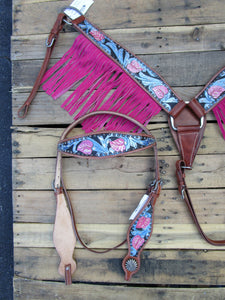 Headstall Breast Collar Pink Fringe Blue Leather Western Horse