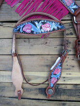 Headstall Breast Collar Pink Fringe Blue Tooled Leather Western Horse