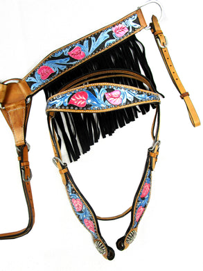 Western Headstall Breast Collar Set Black Fringe Show Trail Tooled