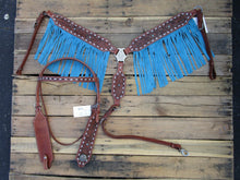 Western Headstall Breast Collar Blue Fringe Buck stitch Leather Horse
