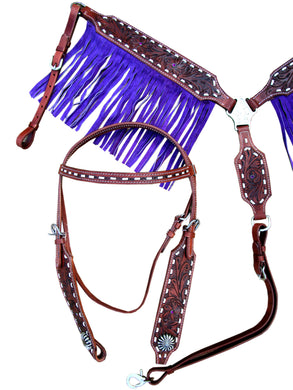 Western Headstall Breast Collar Set Purple Fringe Tooled Leather Horse