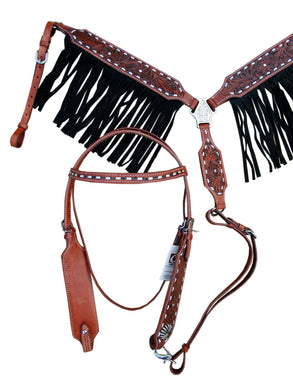 Black Fringe Western Headstall Breast Collar Set Tooled Leather Horse