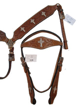 Copper Cross Studded Western Trail Barrel Headstall Breast Collar Set Tack